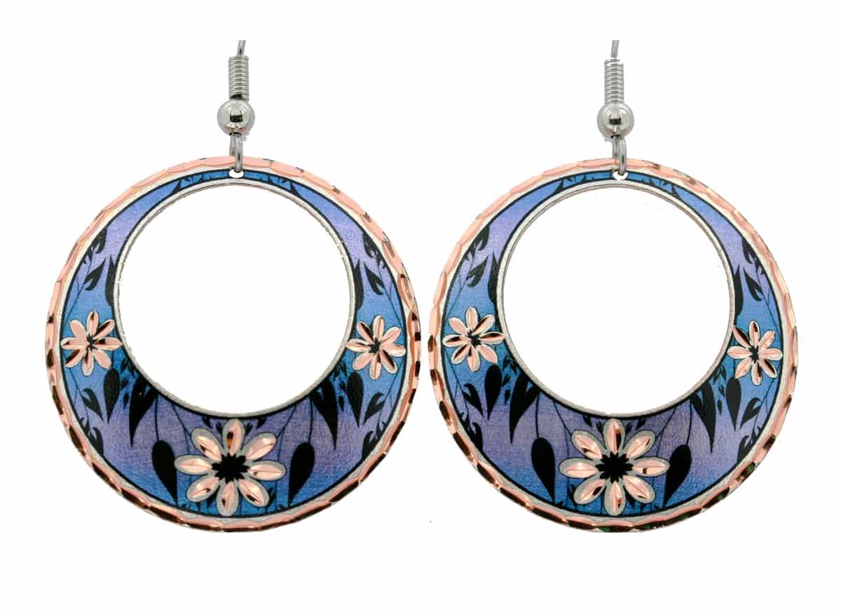 Attractive Purple Flower Earrings