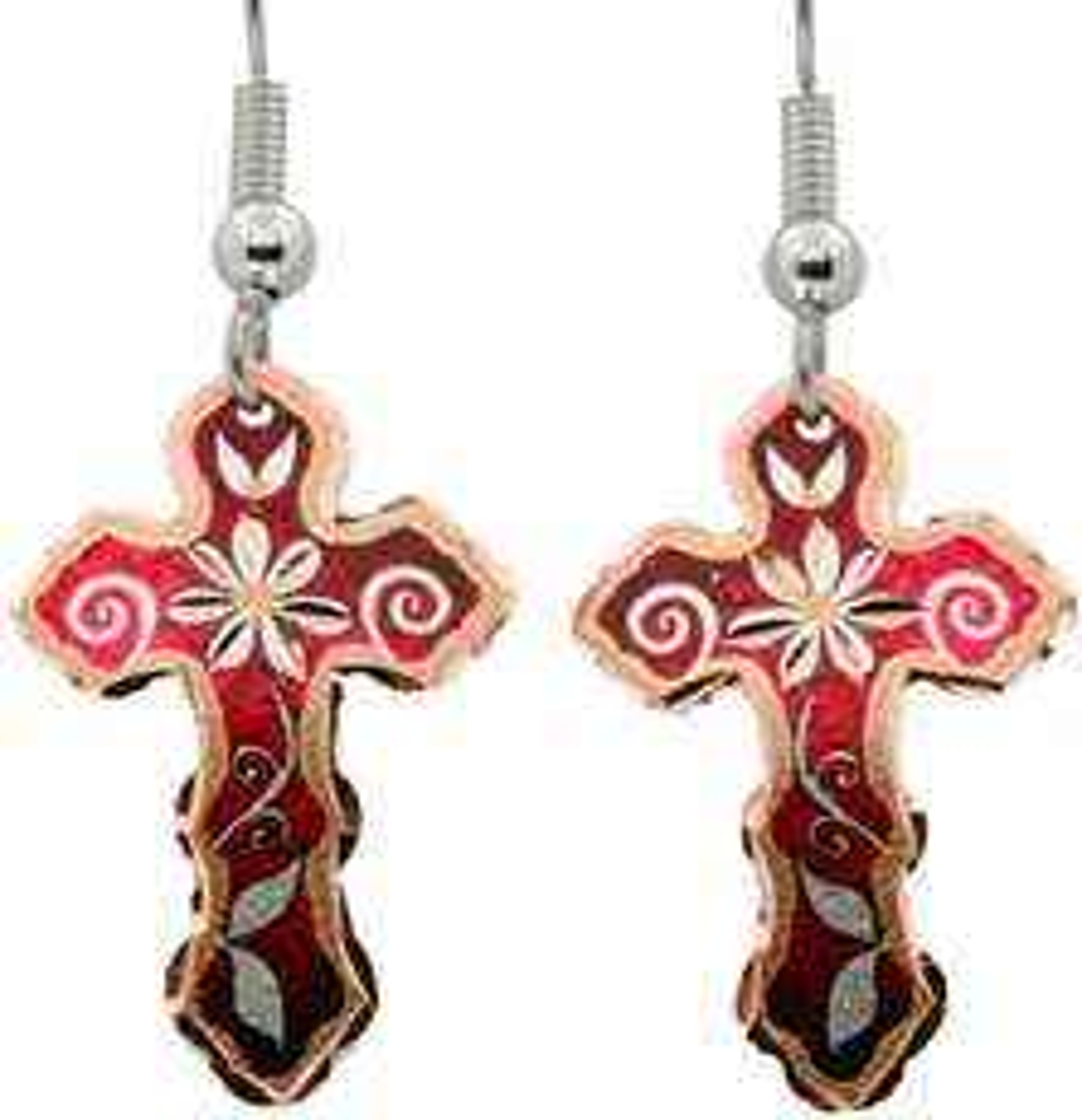 Red Color Cross Flower Earrings
