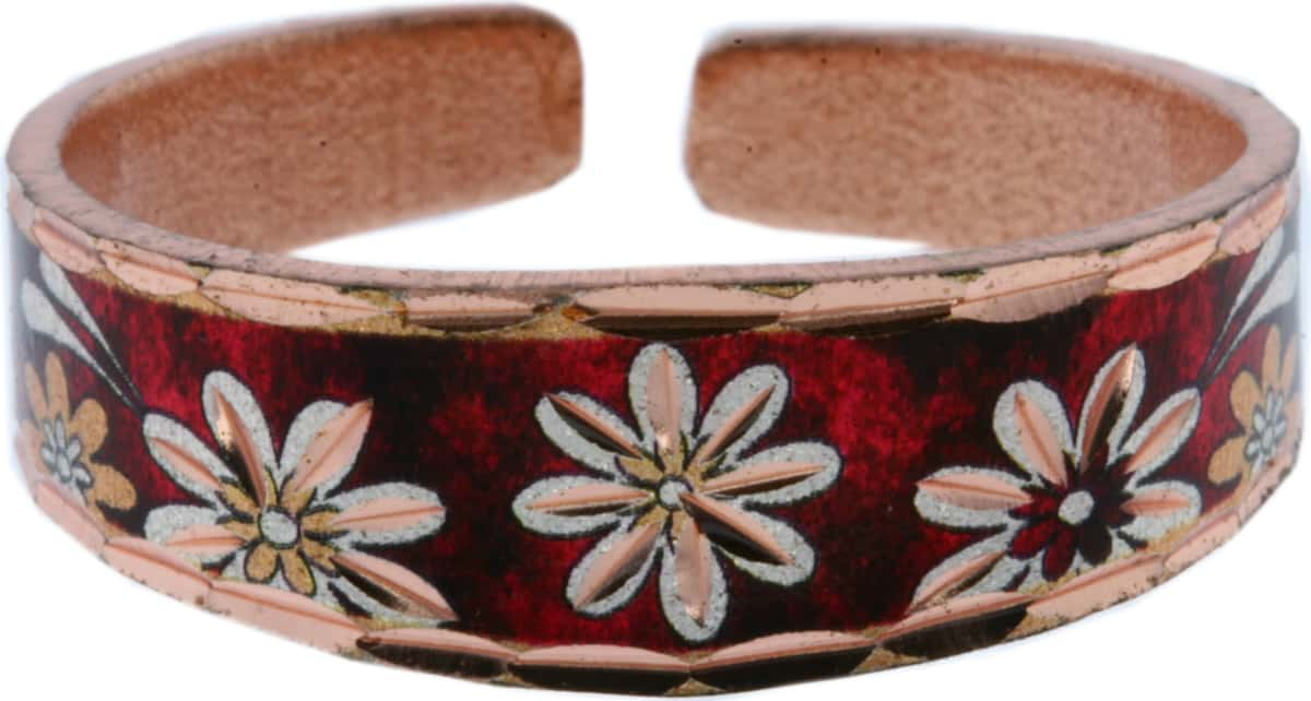 Red Background Flower Copper Rings