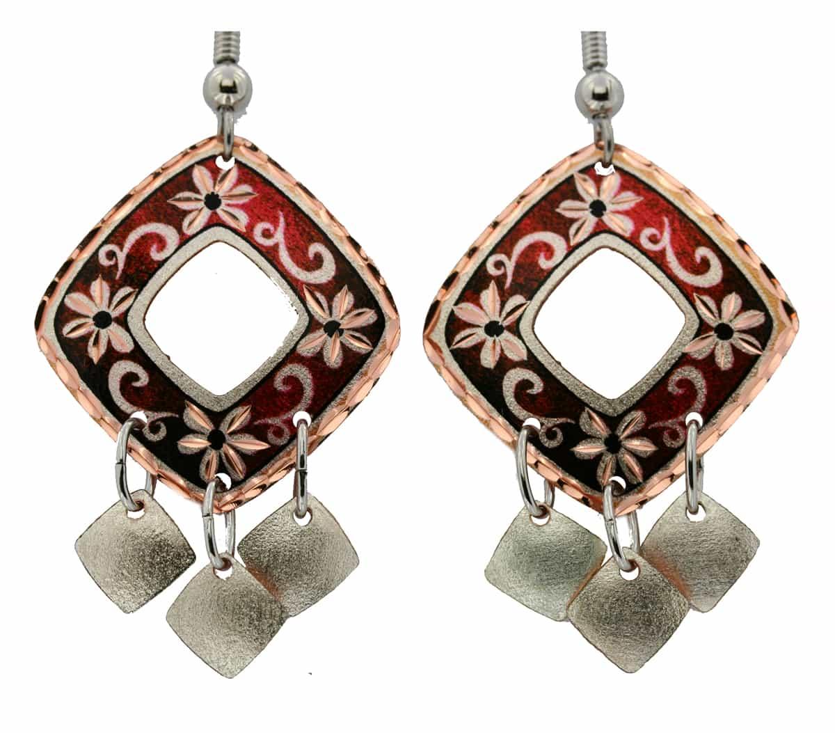 Red Square Flower Dangle Earrings