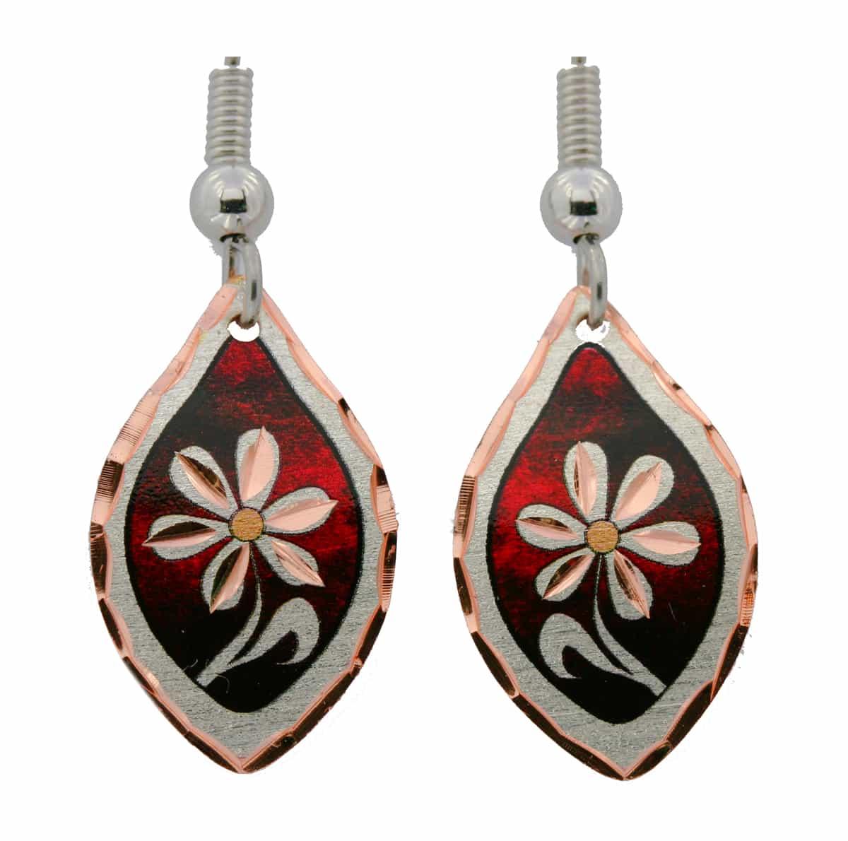 Red Teardrop Flower Earrings
