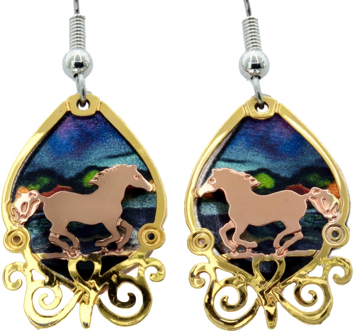 Etched Out Horse Earrings Gold & Copper Plated