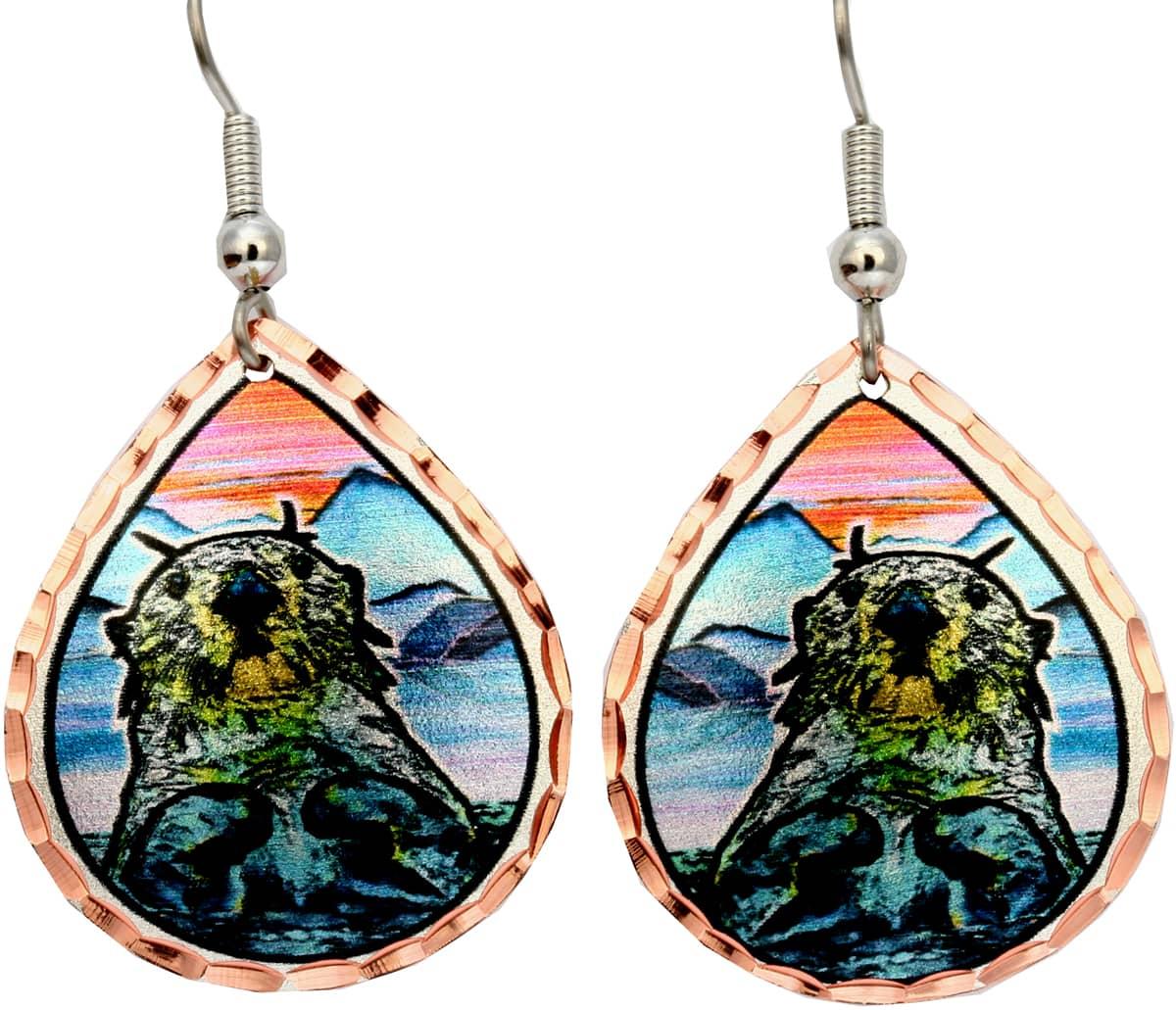 Unique Alaska Jewelry, Sea Otter Earrings