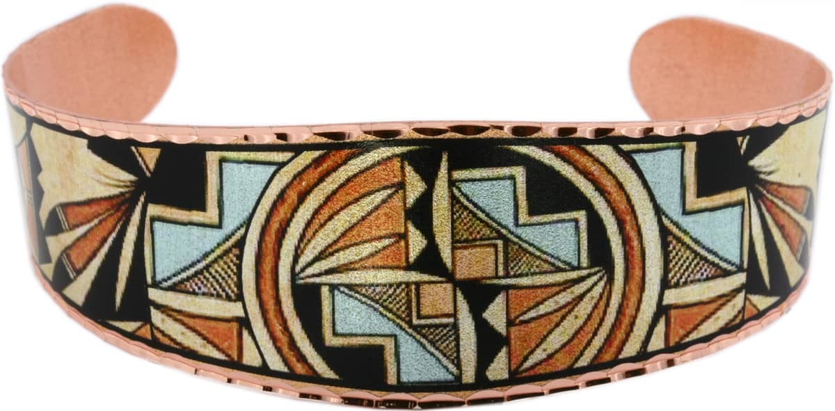 Native American Bracelet Created in Turquoise and Reddish Brown Color