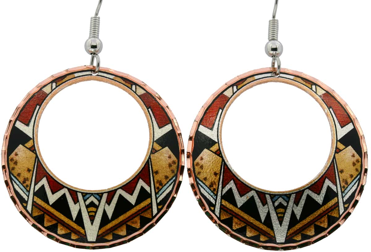 Round SW Native Navajo Indians Pottery Art Earrings