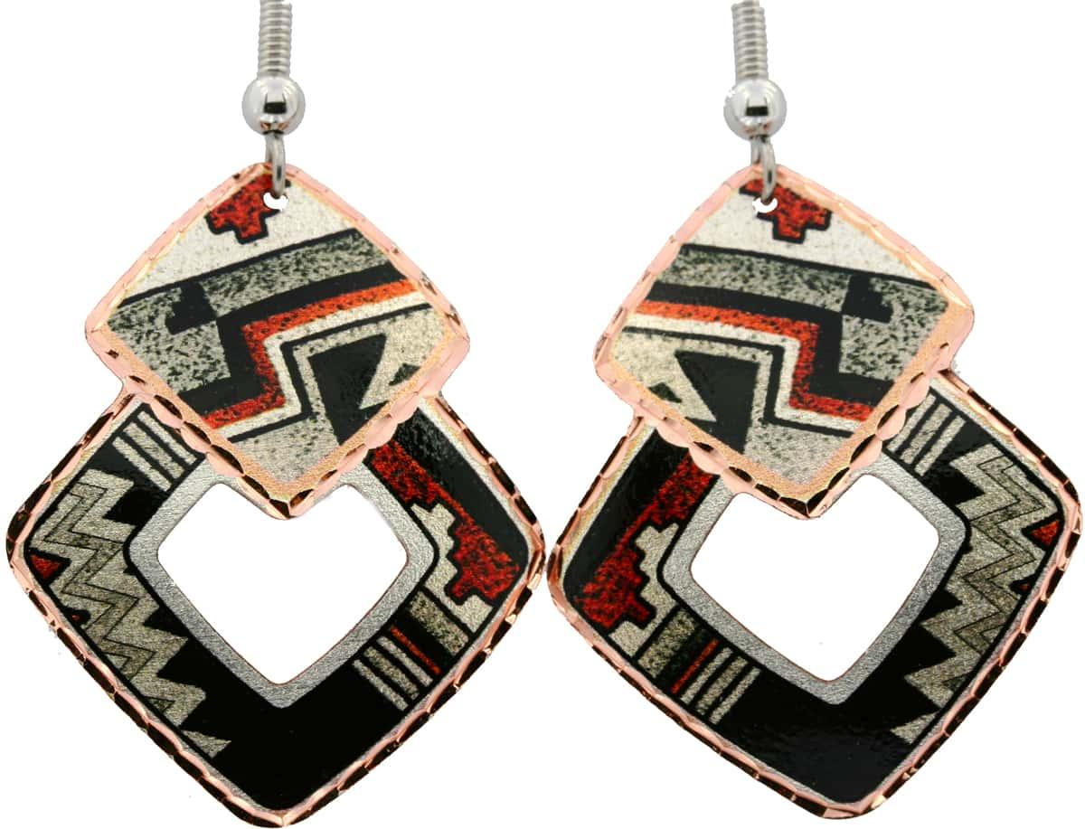 SW Native Zuni Indians Pottery Art Earrings