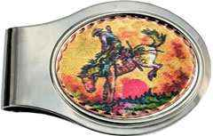 Western Bronco Busting Rodeo Money Clip