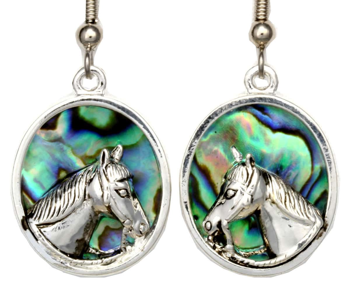 Wholesale Unique Earrings, Horse Earrings Adorned with Abalone