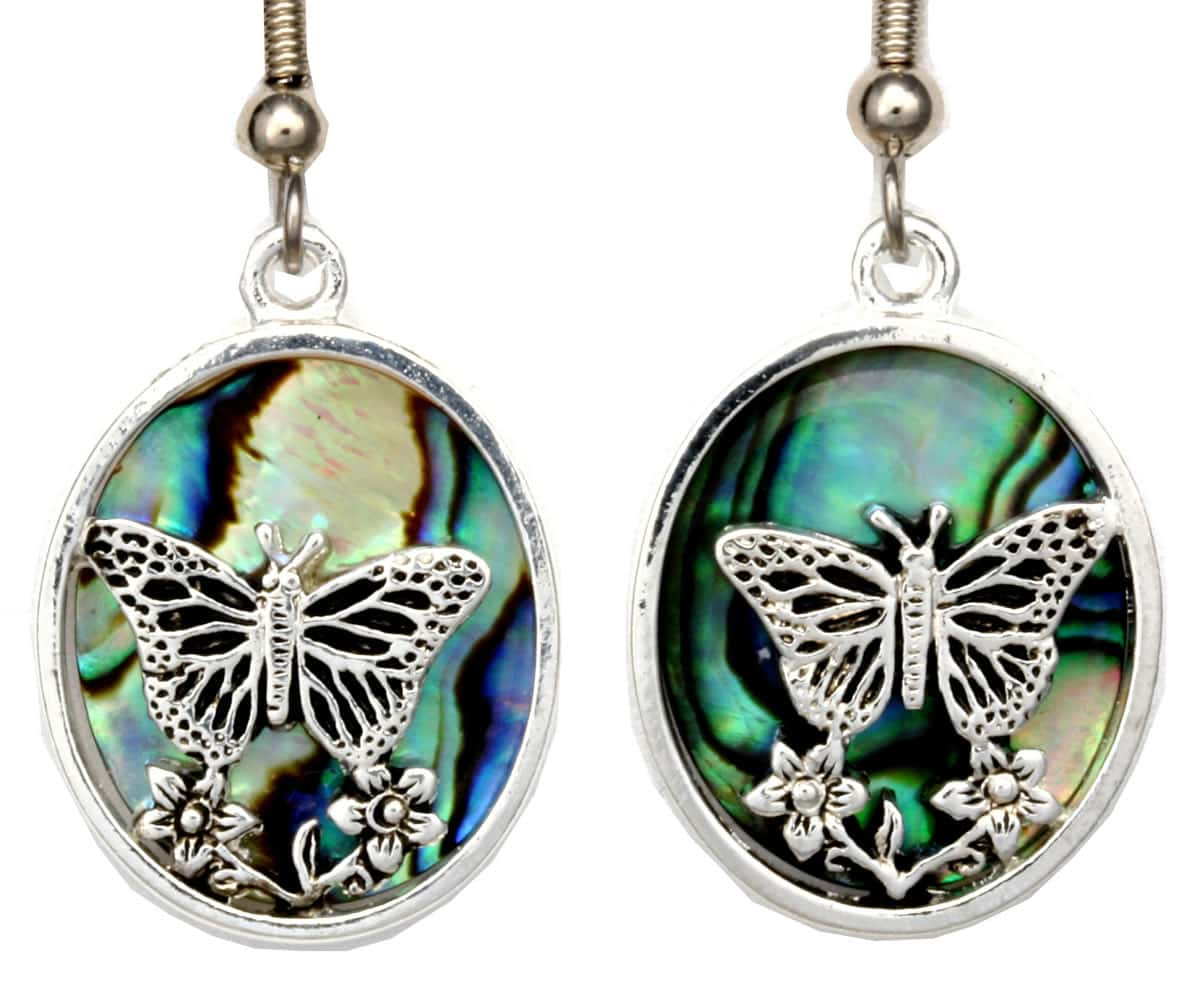 Wholesale Unique Earrings, Abalone Decorated Butterfly Earrings