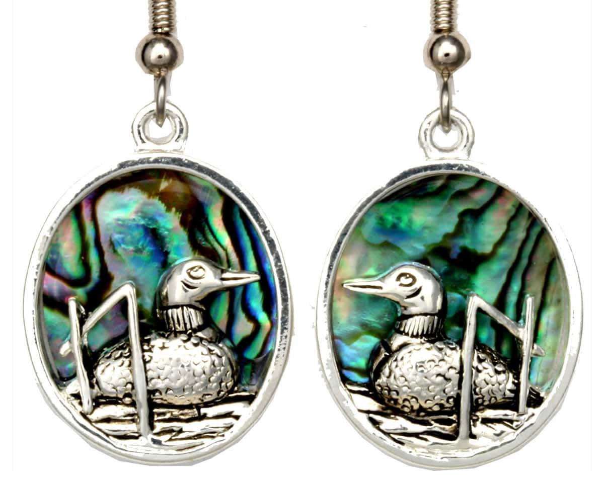Wholesale Unique Earrings, Loon Earrings Decorated with Abalone