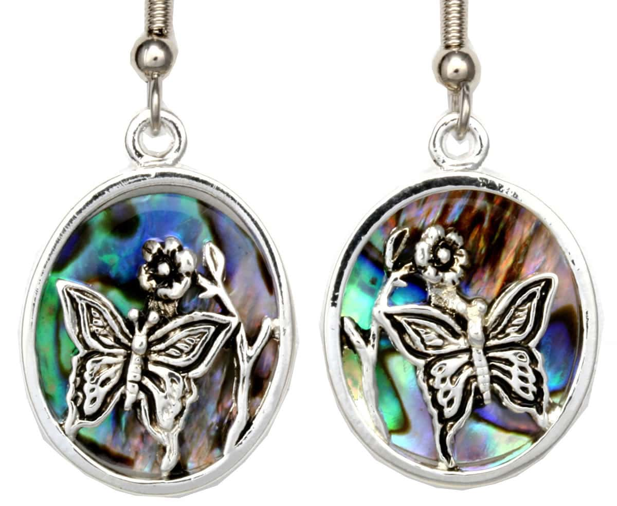Wholesale Unique Jewelry, Silver Plated Butterfly Earrings