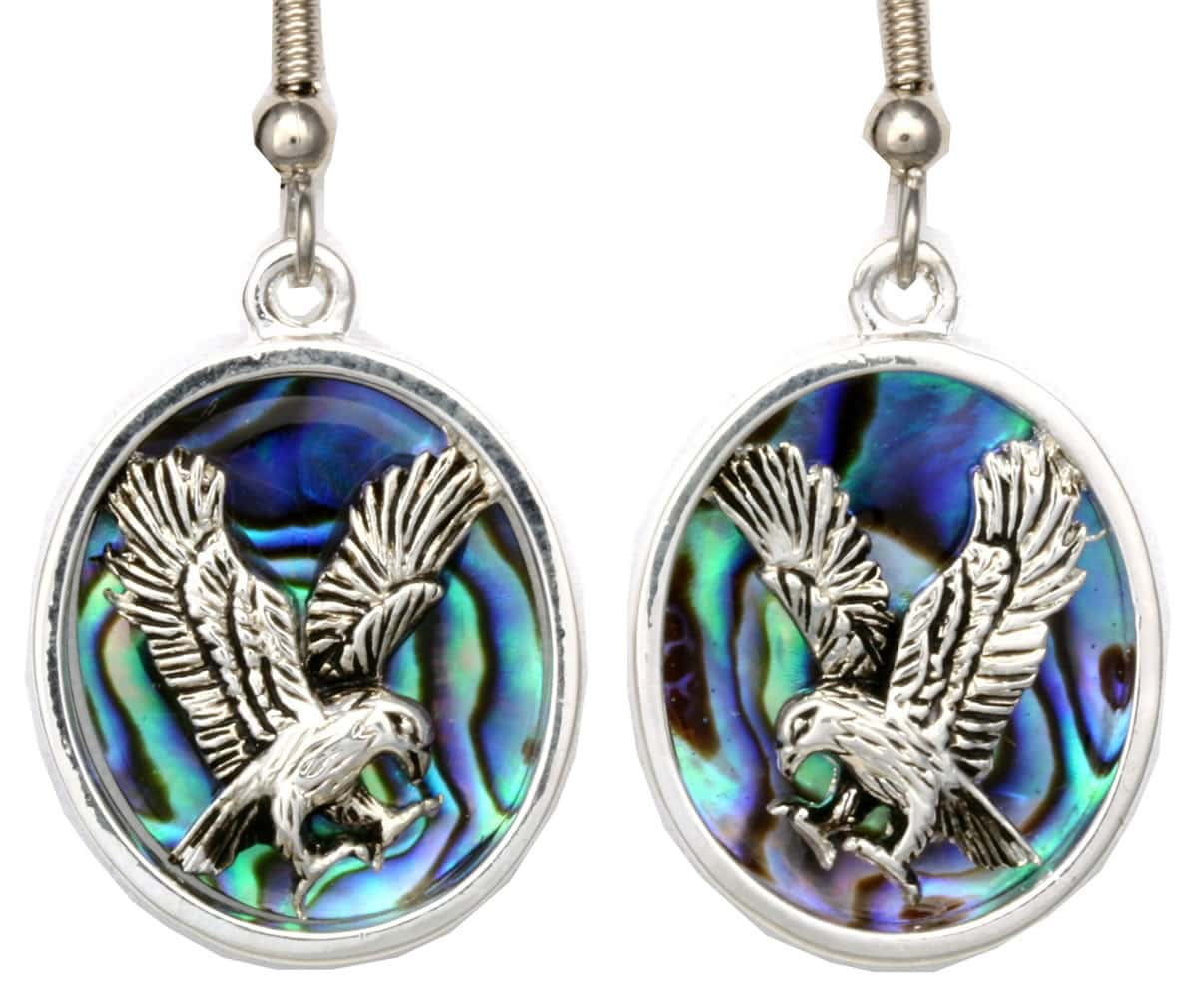 Eagle Earrings Accentuated With Abalone Shells