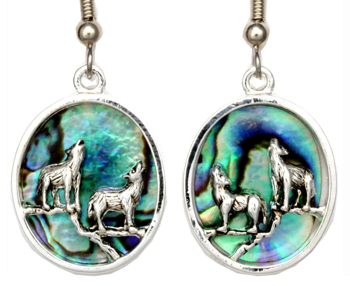Howling Wolves Abalone Earrings