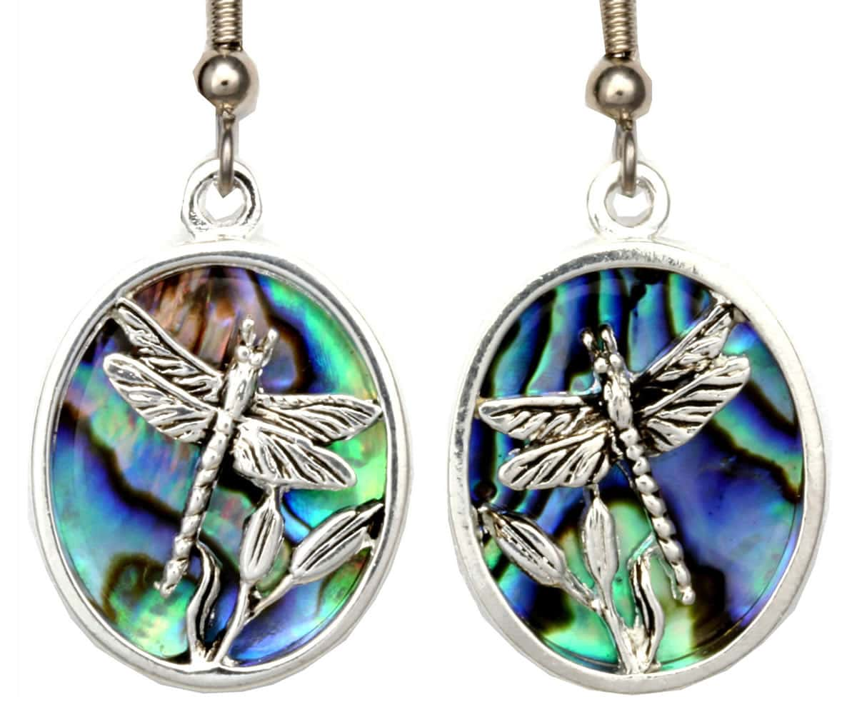 Unique Abalone and Silver Plated Dragonfly Earrings