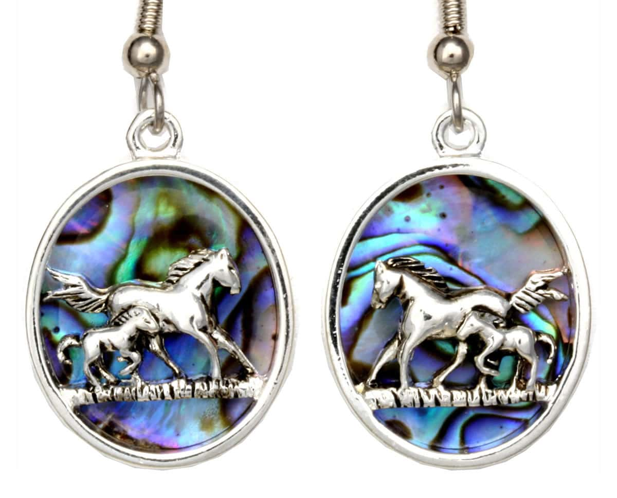 Wholesale Silver Plated Jewelry, Abalone Horse Earrings