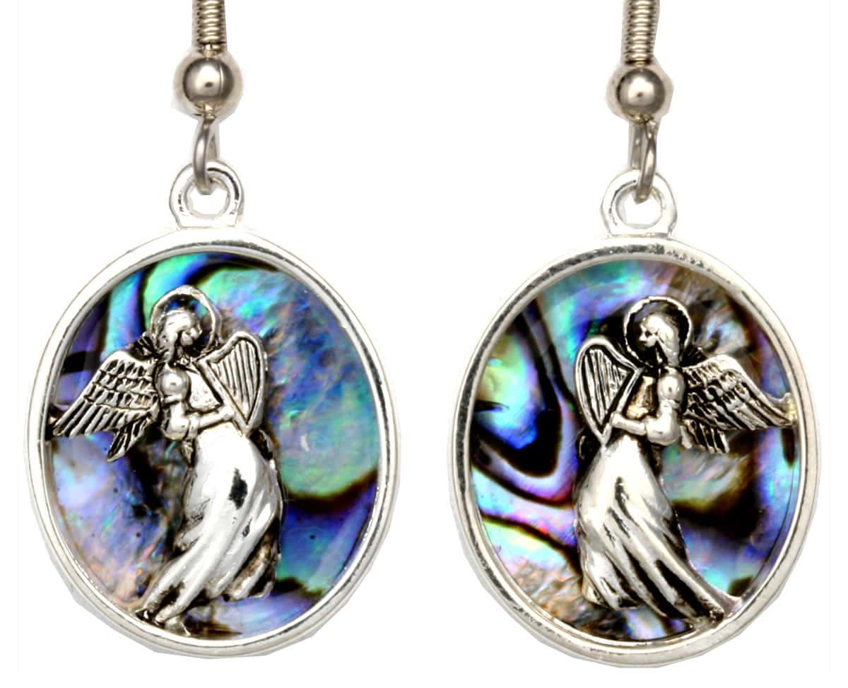 Unique Angel Earrings with Abalone Shell