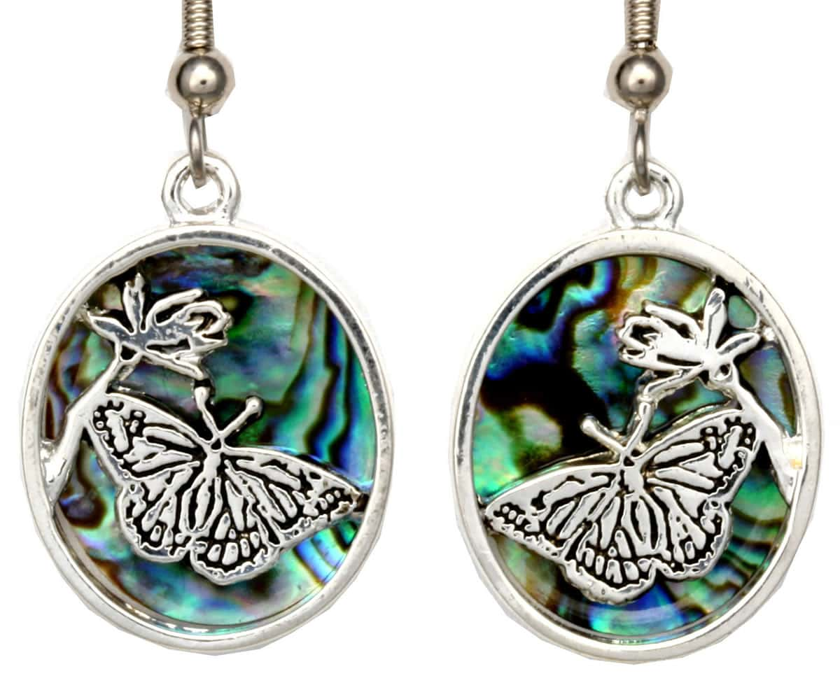 Silver Plated Butterfly Earrings with Abalone Shells