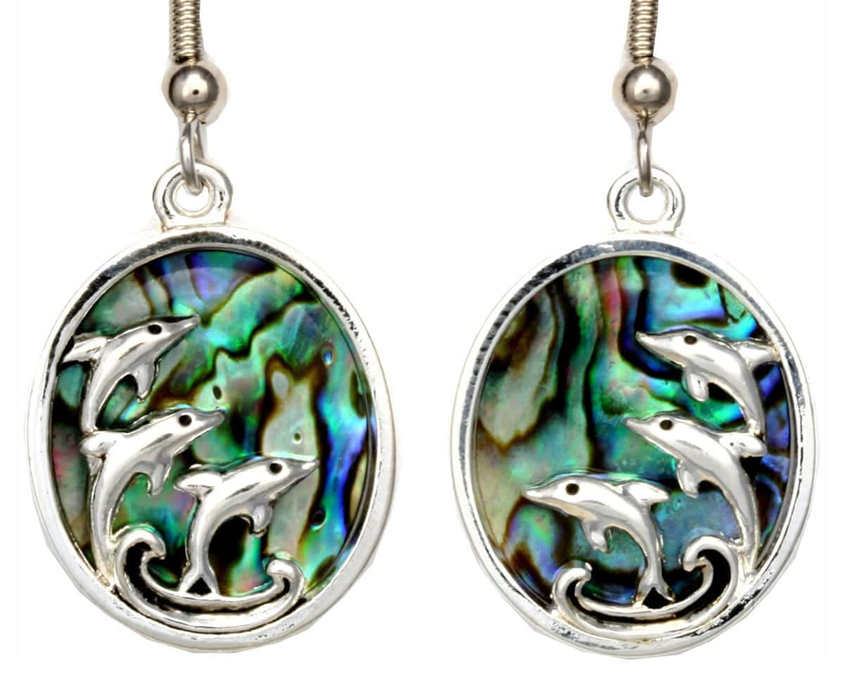 Three Dolphins Cut Out Abalone Earrings