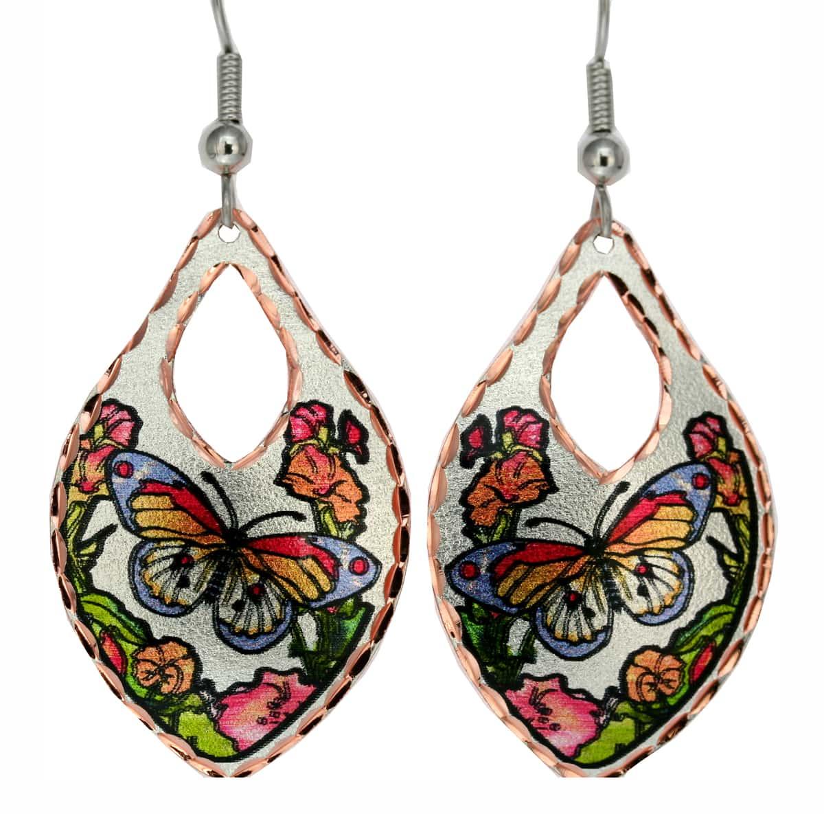 Beautiful shaped flowers and butterfly earrings by Jo Lynch