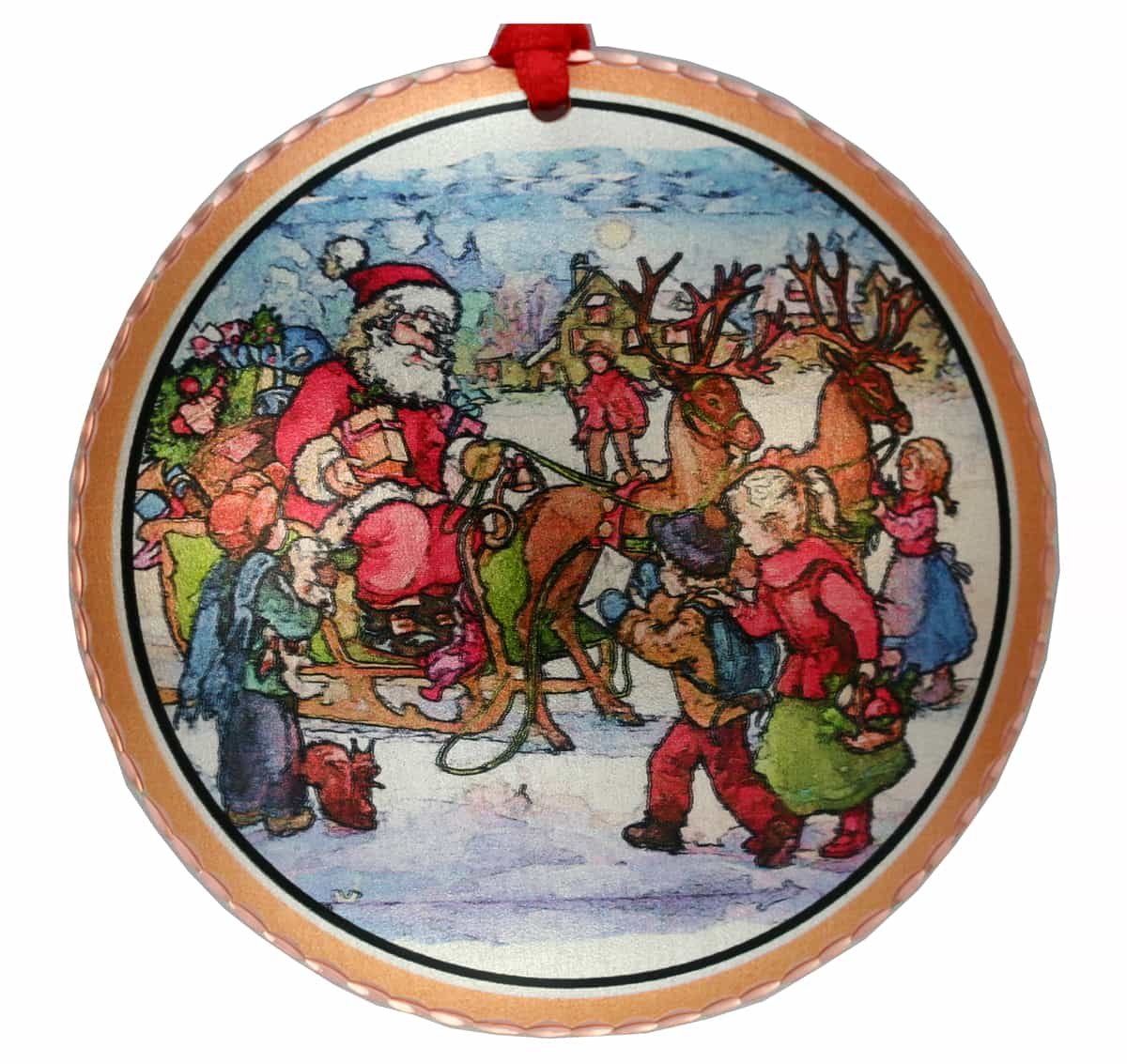 Colorful Santa's sleigh and children Christmas tree ornaments