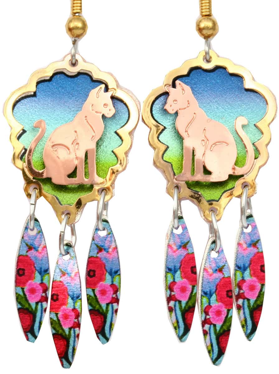 Colorful dangle cut out sitting cat earrings stylish and tasteful