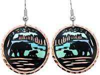 Copper bear earrings with colorful highlights