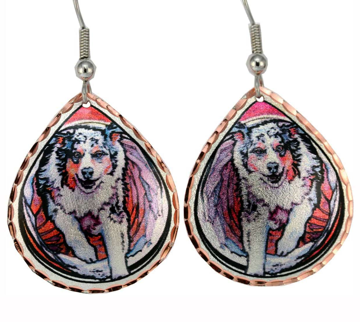 Dog jewelry, Australian shepherd earrings created in watercolor artwork by Lynn Bean
