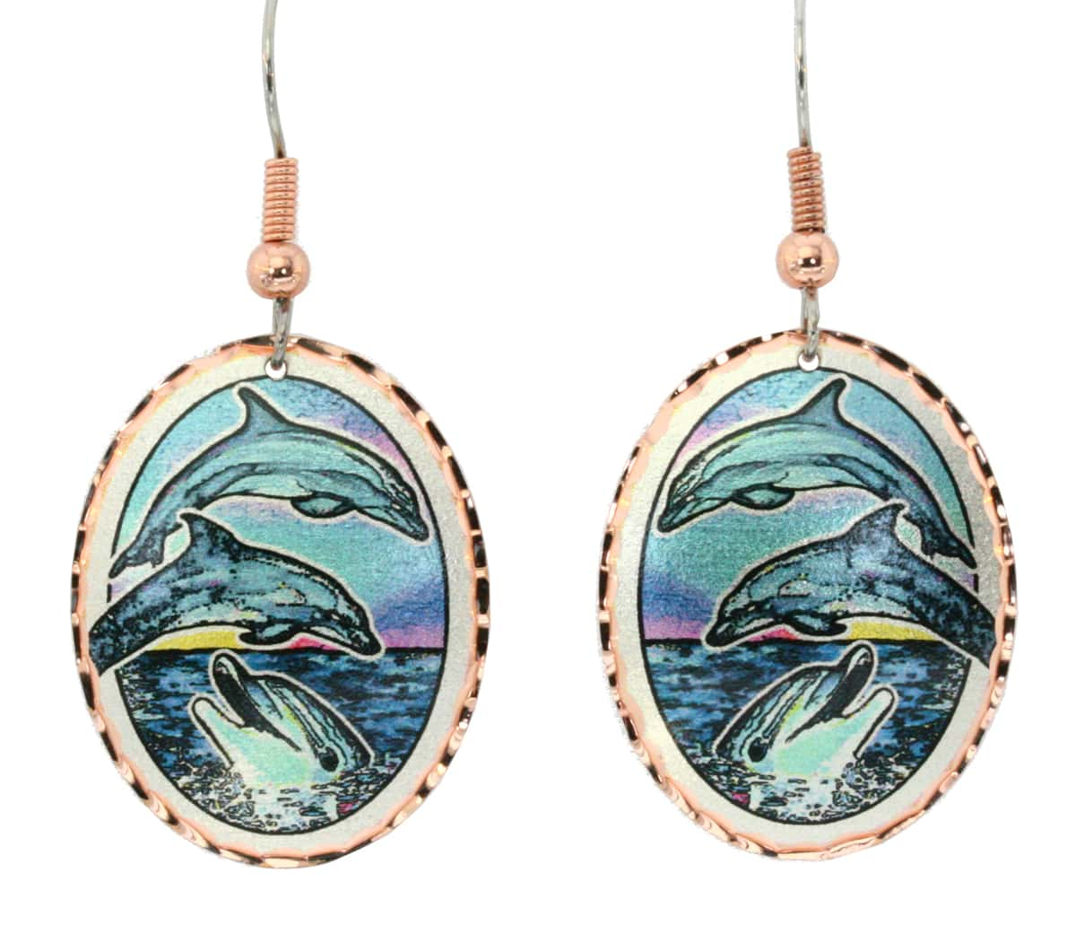 Jumping dolphin earrings created in colorful ocean scene