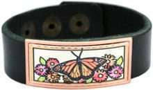 Buy leather bracelets embellished with copper colorful monarch butterfly artwork