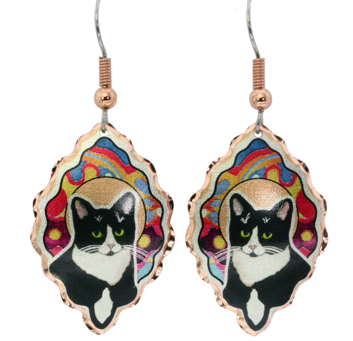 Beautifully shaped colorful copper cat earrings