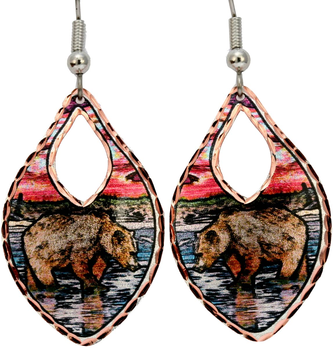 Alaska grizzly bear earrings created in a river scene bear catching salmon fish