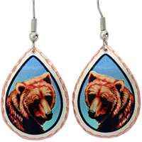 Art jewelry by Lynn Bean, brown bear earrings expensive-looking but affordable handmade jewelry