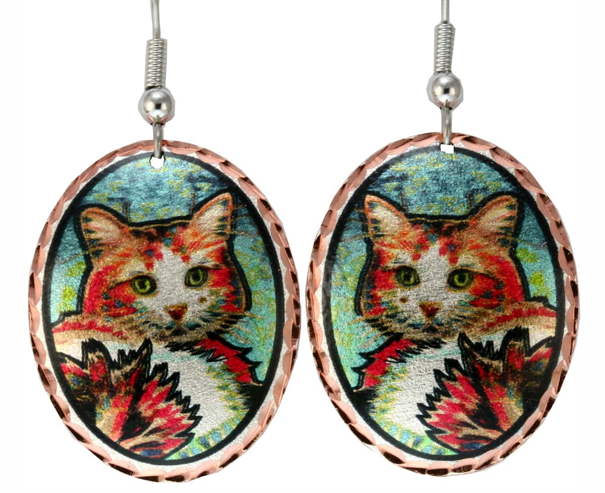 Buy cute cat earrings handmade from copper in vibrant colors to make you smile