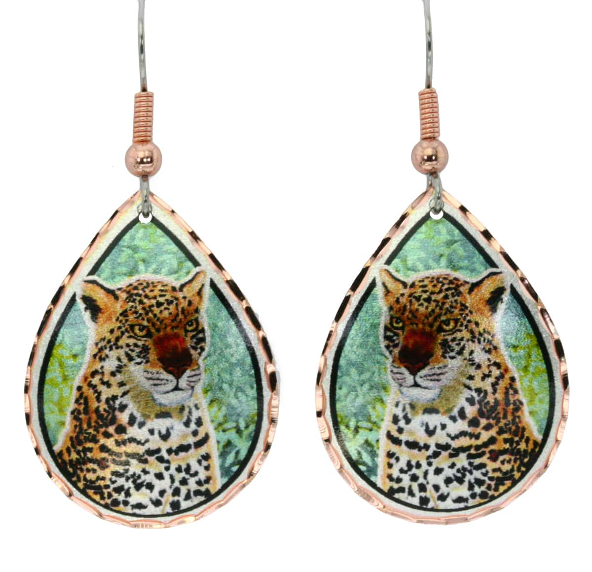 Cheetah earrings handmade in teardrop copper with vibrant colors