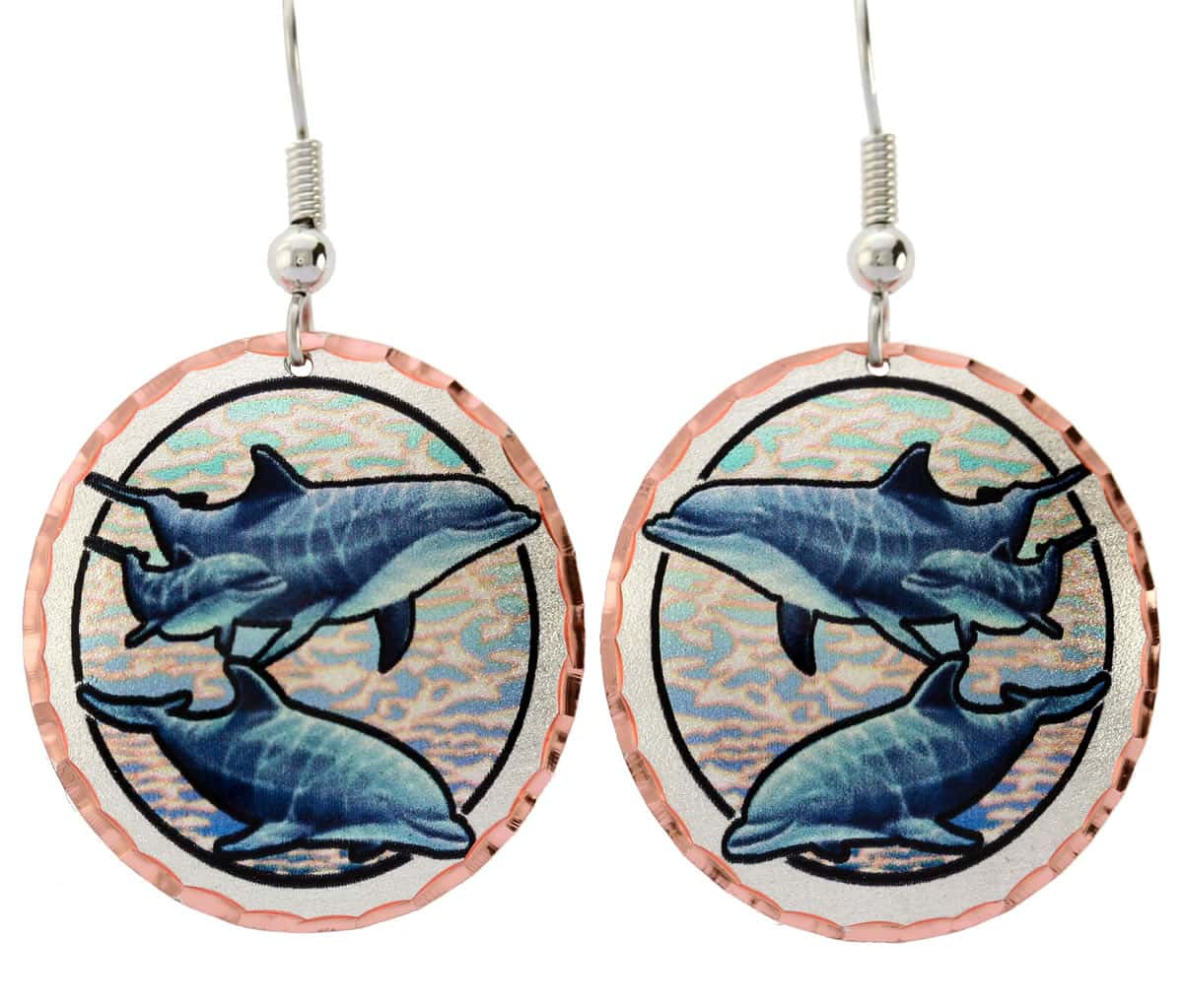 Colorful dolphin earrings for women who love ocean wildlife