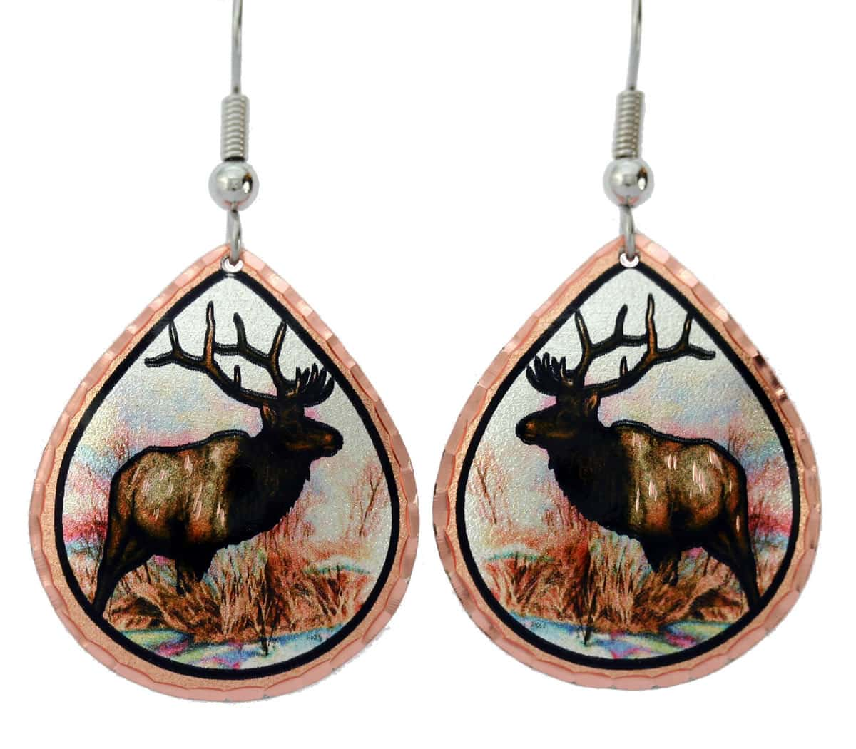 Elk earrings handmade from copper in vibrant colors designed by Lynn Bean