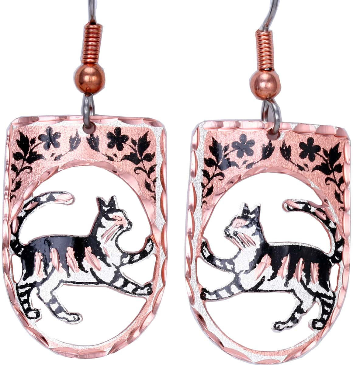 Handmade earrings wholesale, Cut out copper cat earrings with diamond cutting to sparkle