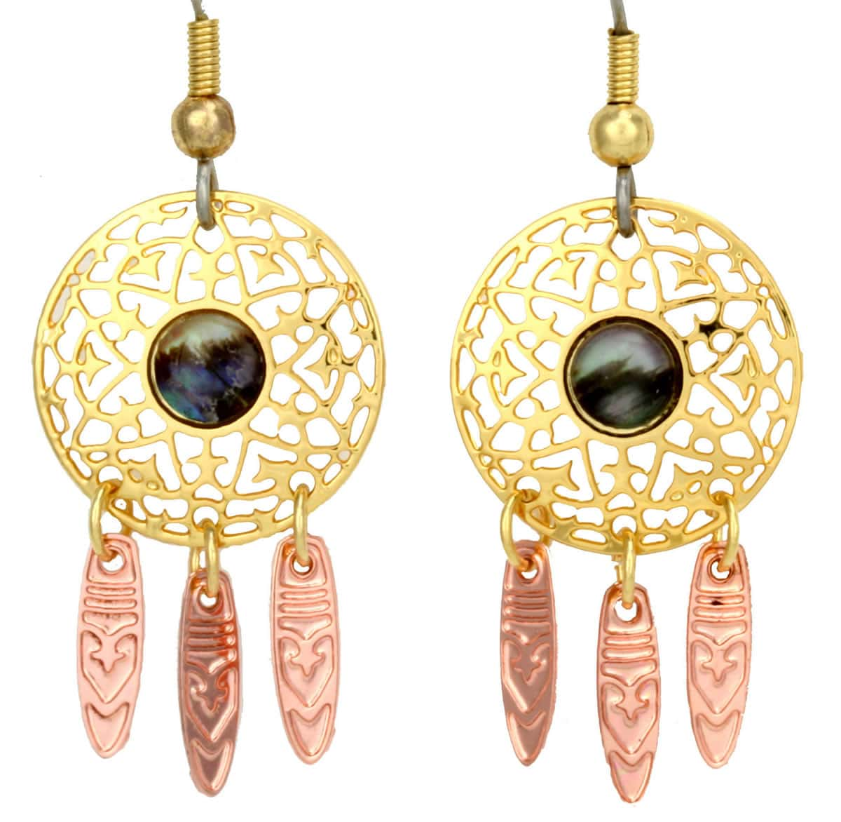 Unique handmade earrings, gold plated dream catcher earrings with copper dangles