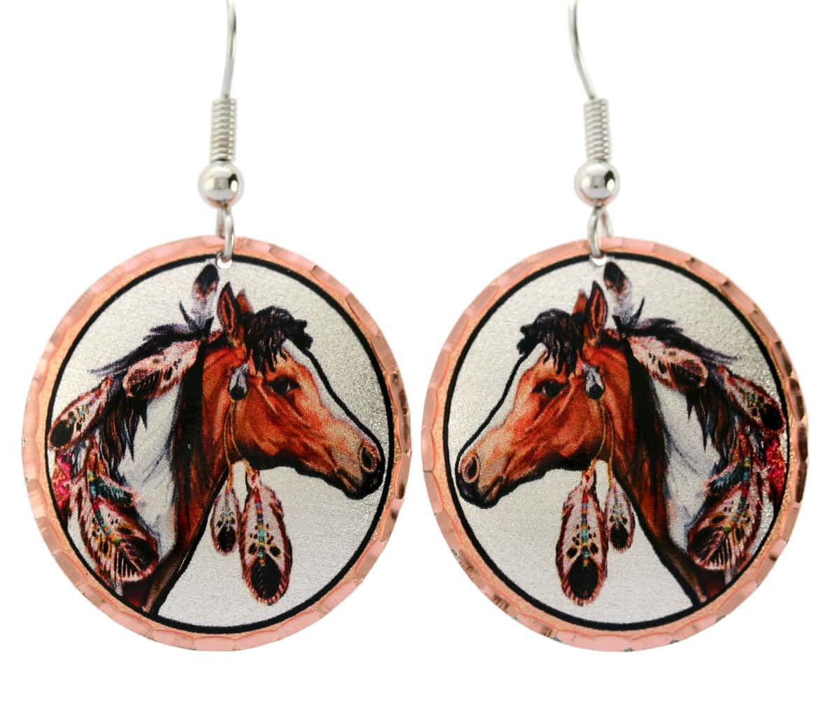 Round Native Indian horse earrings designed by Lynn Bean