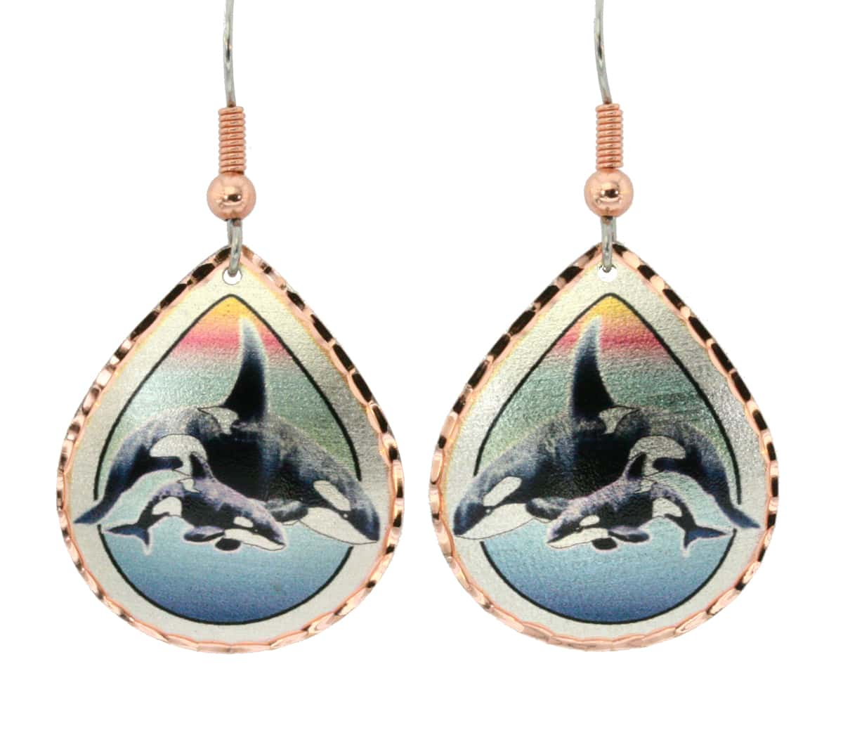Colorful killer whale earrings handmade by skilled artisans in fine quality