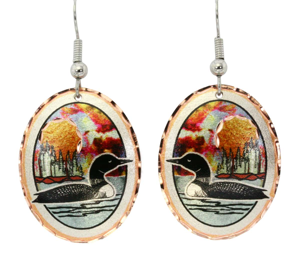 Sun set on a lake with loon earrings for women who love nature