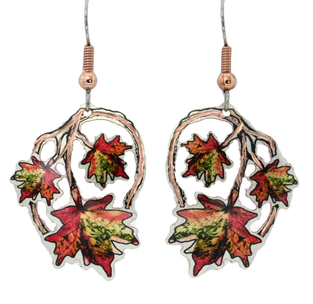 Cut out maple earrings handmade from copper in radiant colors