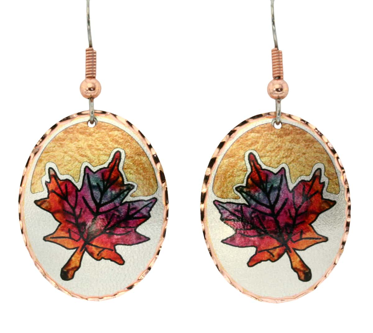 Gorgeous maple leaf earrings created in flame painting colors with silver and gold color background