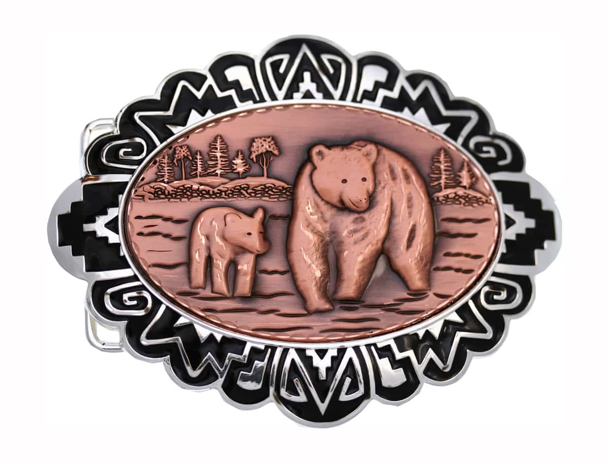 Western belt buckles decorated with embossed cub and bear copper artwork