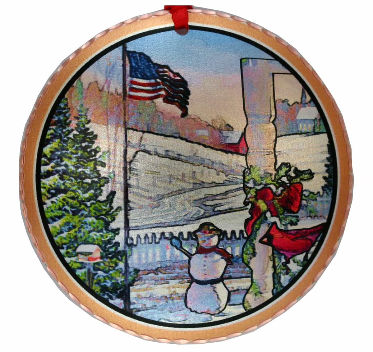 American Flag and Snowman Colorful Christmas Tree Ornaments