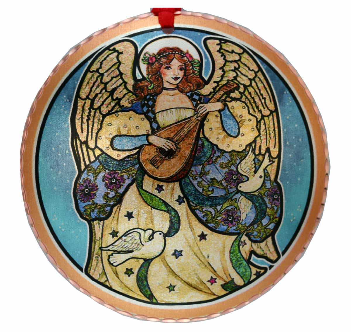 Handmade Copper Angel with Lute Colorful Christmas Tree Ornament