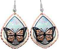 Butterfly earrings accentuated with blue and pink pastel color background