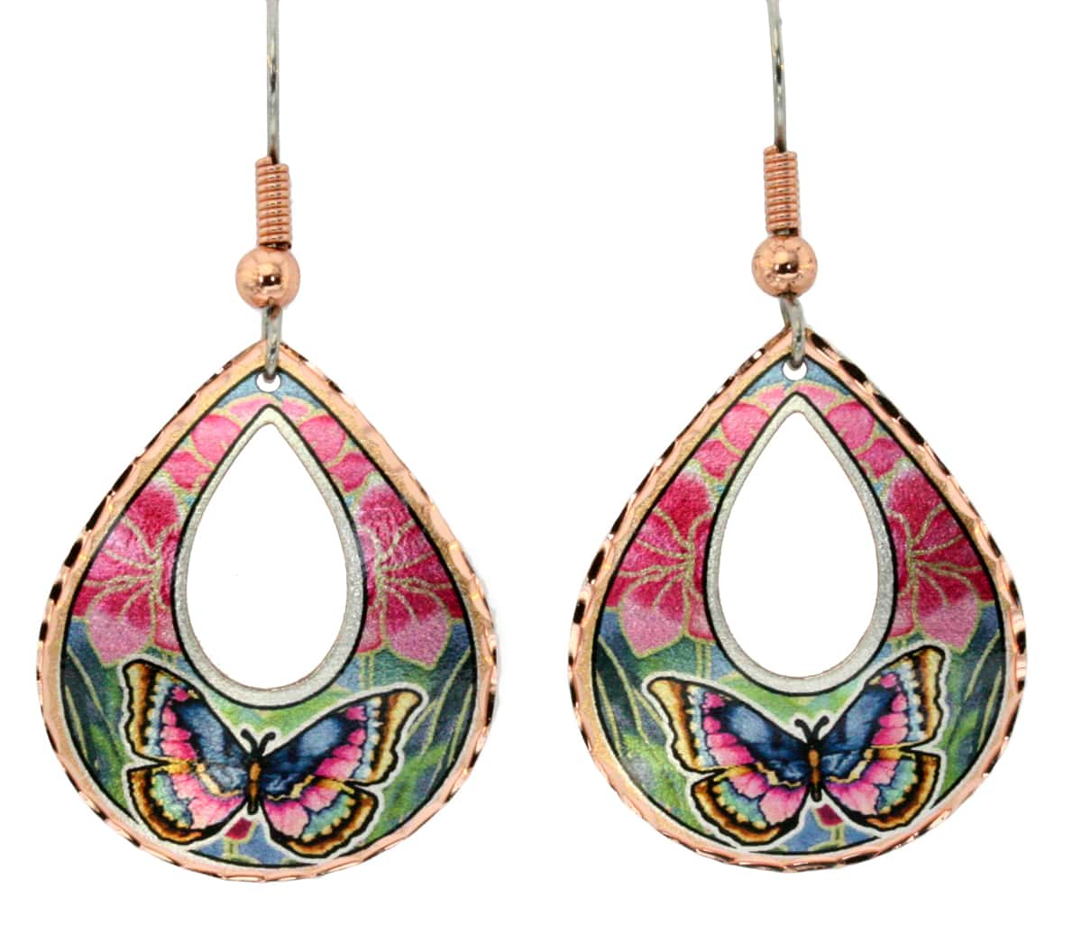 Buy teardrop shaped butterfly earrings created in vibrant colors to make you smile