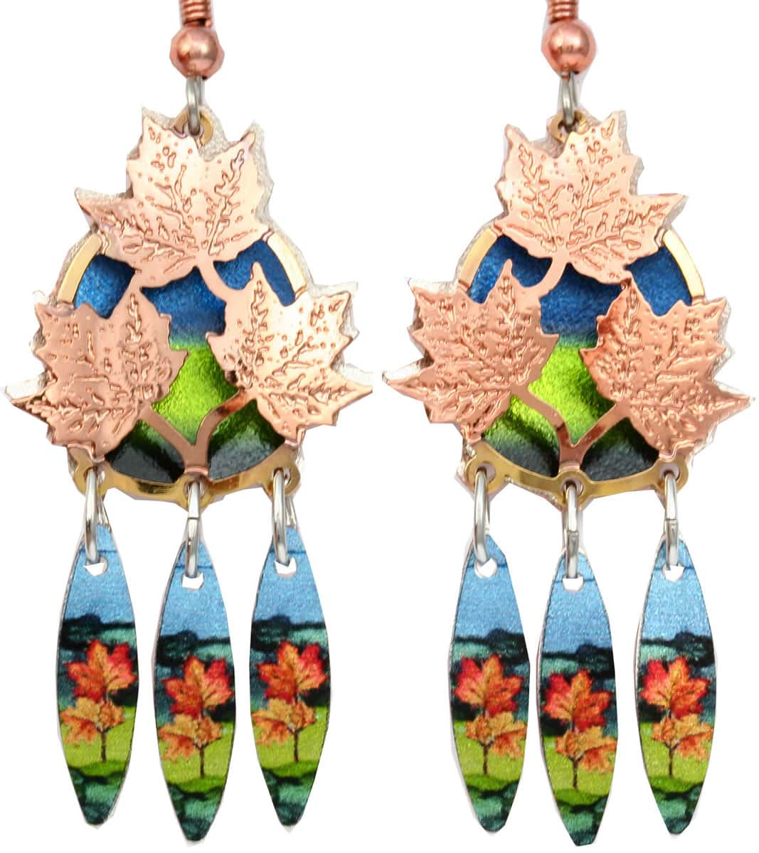 These colorful maple leaves earrings cut out gold and copper earrings will take your breath away