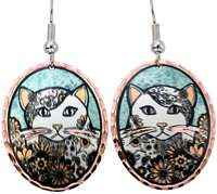 Animal Jewelry, Handcrafted Cat Earrings